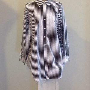 NWOT WOMEN WITHIN BLUE & WHITE NAUTICAL STRIPE TOP